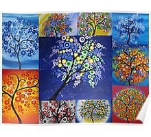 bright tree collage by Australian Artist Catherine Jacobs Poster