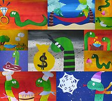 Snake collage from recycled math books by cathyjacobs