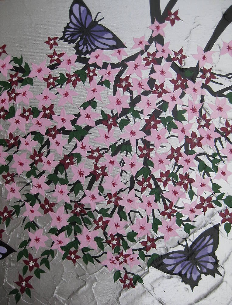 purple butterflies with sakura by cathyjacobs
