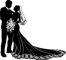 Bride & Groom Silhouette Photographic Print