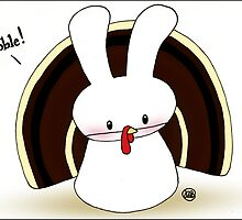 """Gobble"" says the Turkey - erm... Bunny-Rabbit by Diana *BunnyKissd* Bukowski"