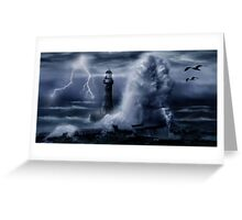 Light House Storm Greeting Card