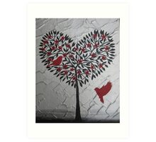 Romantic design of birds and a heart tree Art Print