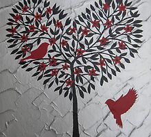 Romantic design of birds and a heart tree by cathyjacobs