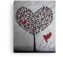 Romantic design of birds and a heart tree Canvas Print