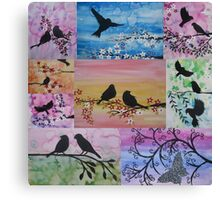 watercolor and acrylic collage - birds and blossoms Canvas Print