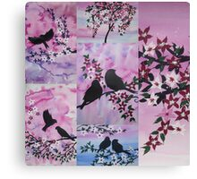 Patchwork of watercolour and acrylic Canvas Print