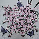 purple butterflies with pink flowers by cathyjacobs