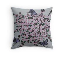 purple butterflies with pink flowers Throw Pillow