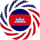 Cambodian American Multinational Patriot Flag by Carbon-Fibre Media