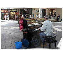Busking Pianist, South Australia Poster