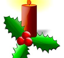 Advent Candle with Holly by boogeyman