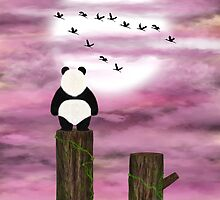 Panda dreamer and pink clouds by Nika Lerman