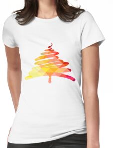 Christmas and New Year hand-painted decoration with Christmas tree Womens Fitted T-Shirt