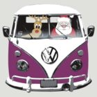 VW Camper Santa Father Christmas Purple by splashgti