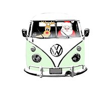 VW Camper Santa Father Christmas Pale Green by splashgti