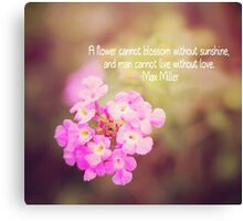 Pink Floral Typography Canvas Print
