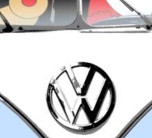 VW Camper Santa Father Christmas Pale Blue Sticker