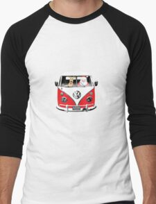 VW Camper Santa Father Christmas Red Men's Baseball ¾ T-Shirt