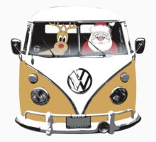 VW Camper Santa Father Christmas Orange by splashgti