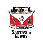 VW Camper Santa Father Christmas On Way Red by splashgti