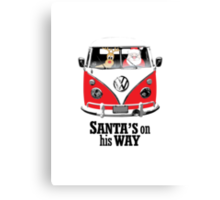 VW Camper Santa Father Christmas On Way Red Canvas Print