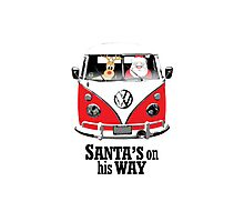 VW Camper Santa Father Christmas On Way Red Photographic Print