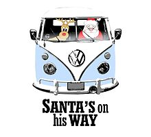VW Camper Santa Father Christmas On Way Pale Blue by splashgti