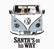 VW Camper Santa Father Christmas On Way Pale Blue T-Shirt