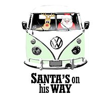 VW Camper Santa Father Christmas On Way Pale Green by splashgti