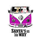 VW Camper Santa Father Christmas On Way Purple by splashgti