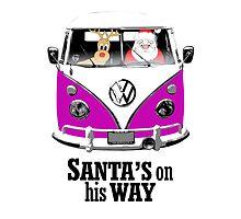 VW Camper Santa Father Christmas On Way Purple by splashgti