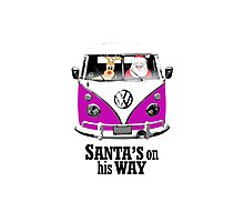 VW Camper Santa Father Christmas On Way Purple Photographic Print