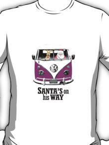VW Camper Santa Father Christmas On Way Purple T-Shirt