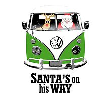 VW Camper Santa Father Christmas On Way Dark Green by splashgti