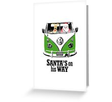VW Camper Santa Father Christmas On Way Dark Green Greeting Card