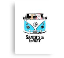 VW Camper Santa Father Christmas On Way Bright Blue Canvas Print