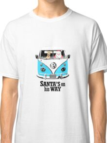 VW Camper Santa Father Christmas On Way Bright Blue Classic T-Shirt