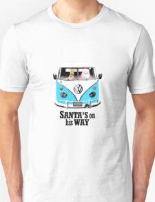 VW Camper Santa Father Christmas On Way Bright Blue Unisex T-Shirt