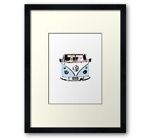 VW Camper Santa Father Christmas Pale Blue Framed Print