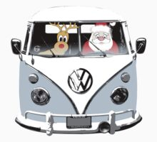 VW Camper Santa Father Christmas Pale Blue Kids Clothes