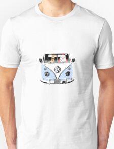 VW Camper Santa Father Christmas Pale Blue T-Shirt