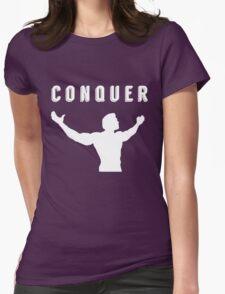 arnold schwarzenegger gym t-shirt conquer Womens Fitted T-Shirt