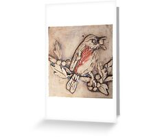 Redwing on Holly Branch Greeting Card