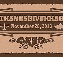 Thanksgiving meets Hanukkah Thanksgivukkah Print by xdurango