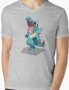 Cutout Totodile Mens V-Neck T-Shirt