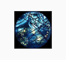 "Dr. Who Gallifreyan ""Dream Improbable Dreams"", with Tardis, blue universe, black border Unisex T-Shirt"