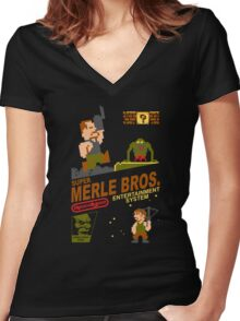 Super Merle Brothers Women's Fitted V-Neck T-Shirt