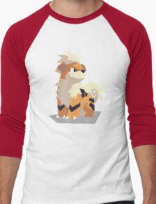 Cutout Growlithe Men's Baseball ¾ T-Shirt