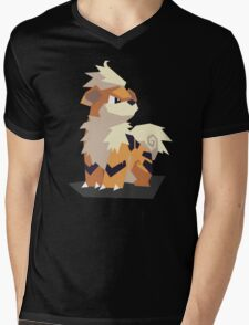 Cutout Growlithe Mens V-Neck T-Shirt